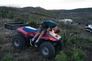 "My nephew, Dylan ""crashing"" on the ATV.  Don't worry, I went along with it."